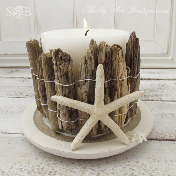 Seashell Inspired Wire and Driftwood Votive Holder