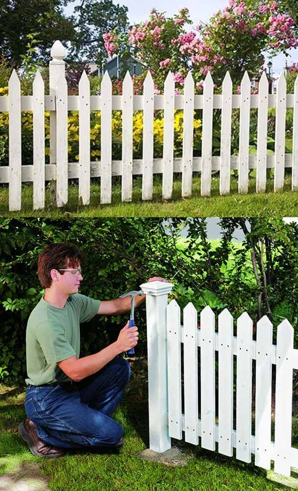 DIY Classic White Picket Fence