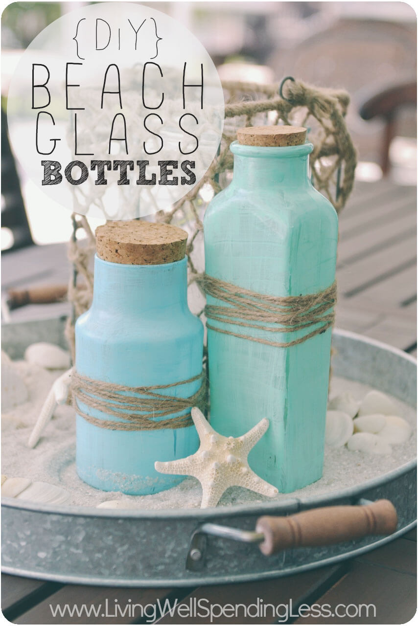 Paint Old Bottles For A Beachy Look