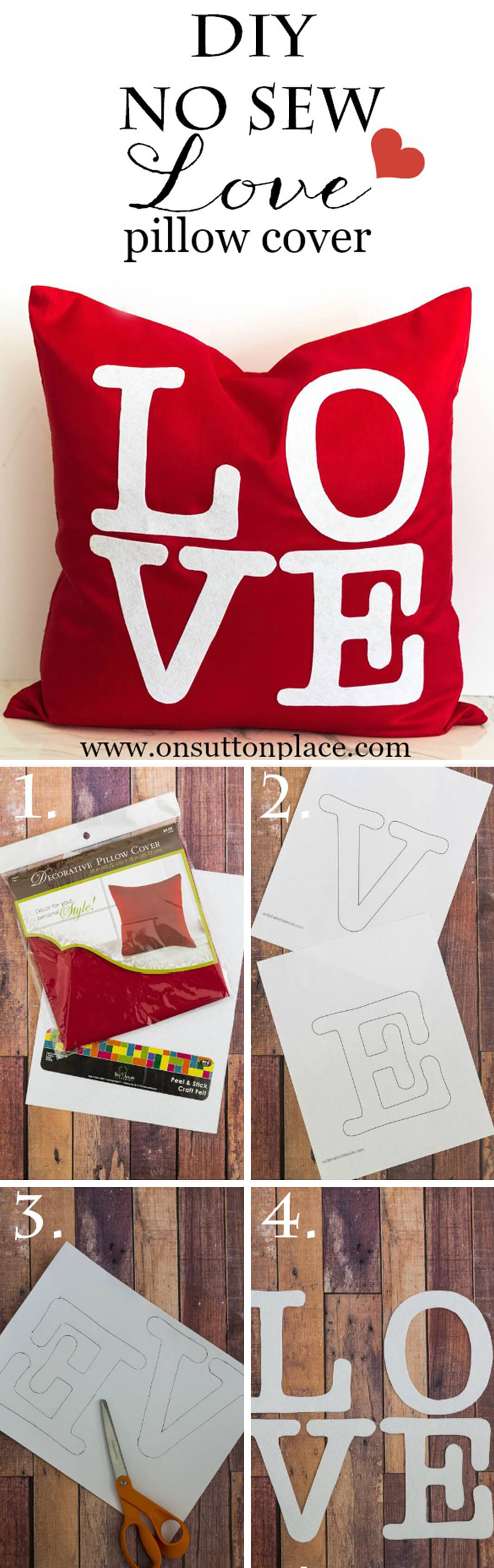"""""""Love"""" No Sew Pillow Cover"""