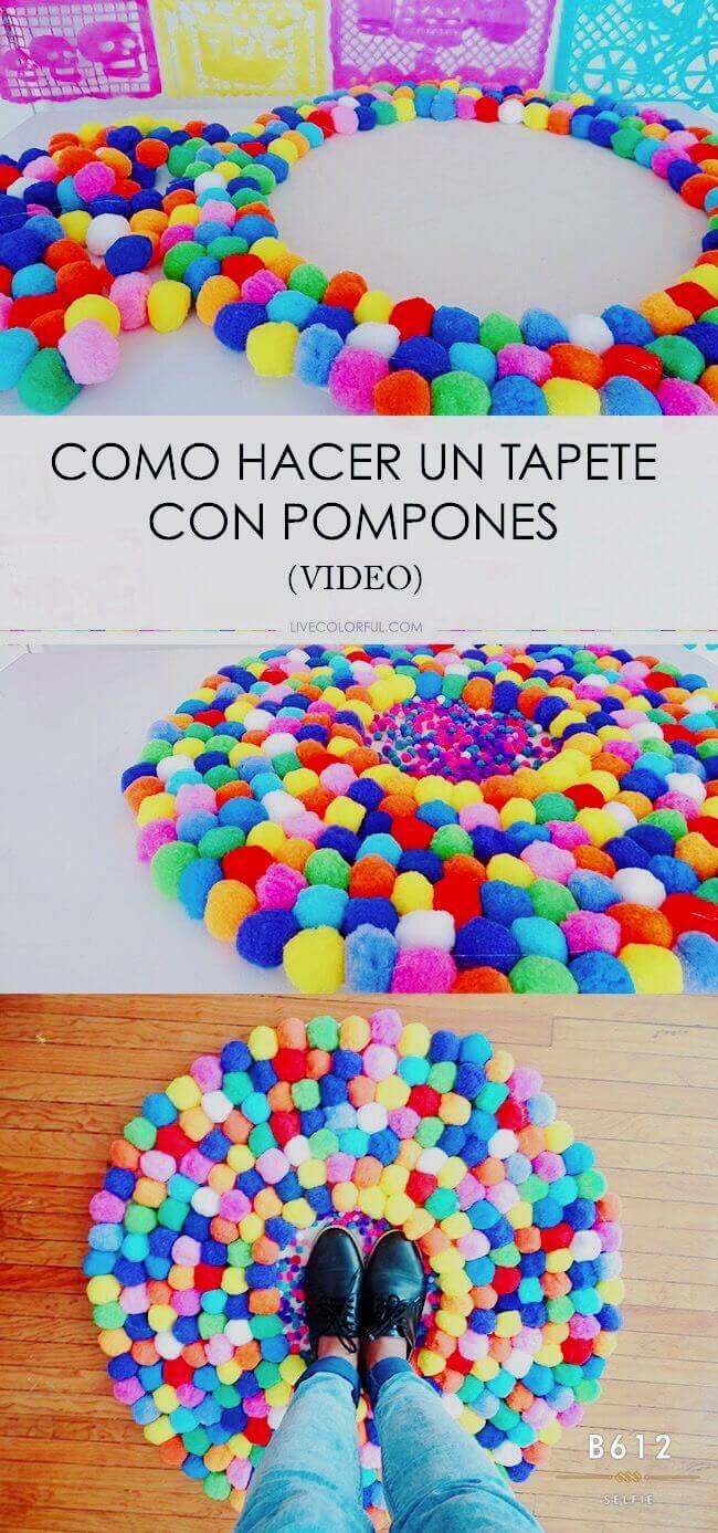 Cute Multi-Colored Pom-Pom Play Mat