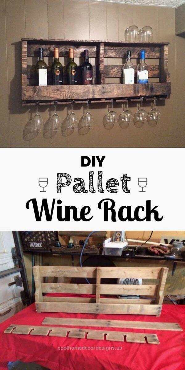 Rustic Wood Pallet Wine Rack