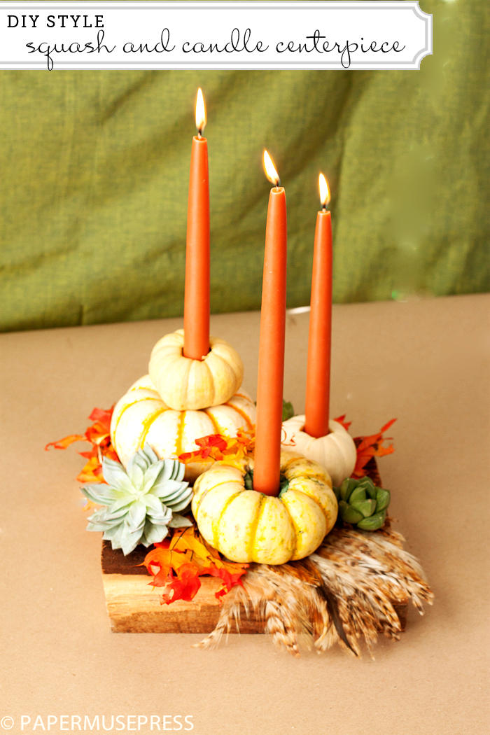 Mini-gourd Candlesticks with Fall Foliage and Succulents