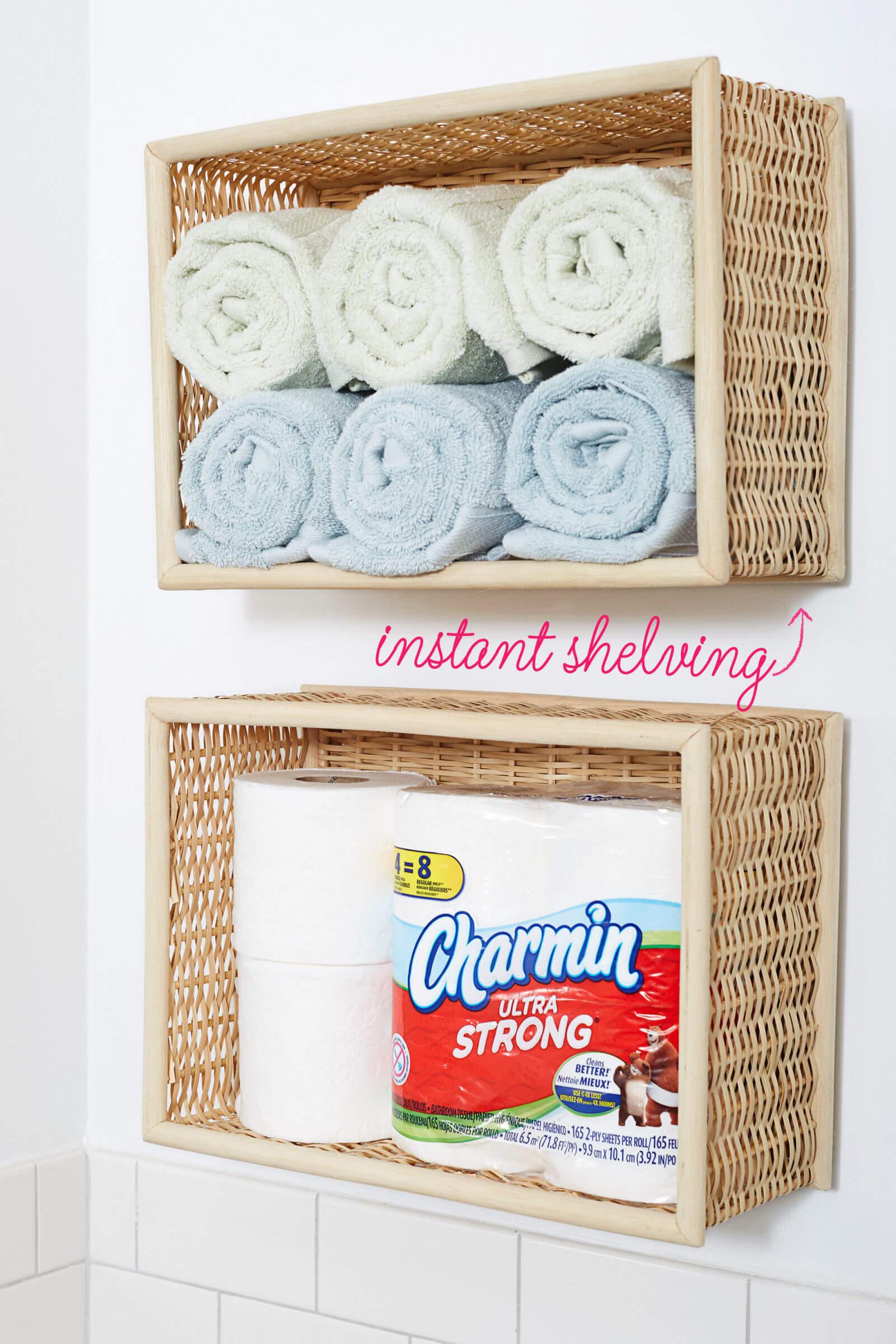 Wall-Mounted Bathroom Basket Shelves