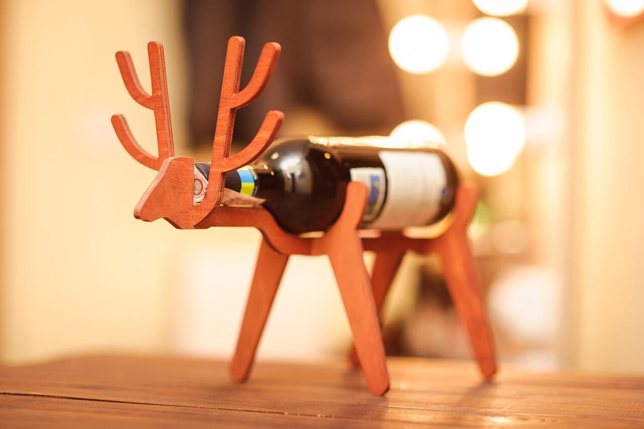 Veneer Wood Wine Bottle Holder
