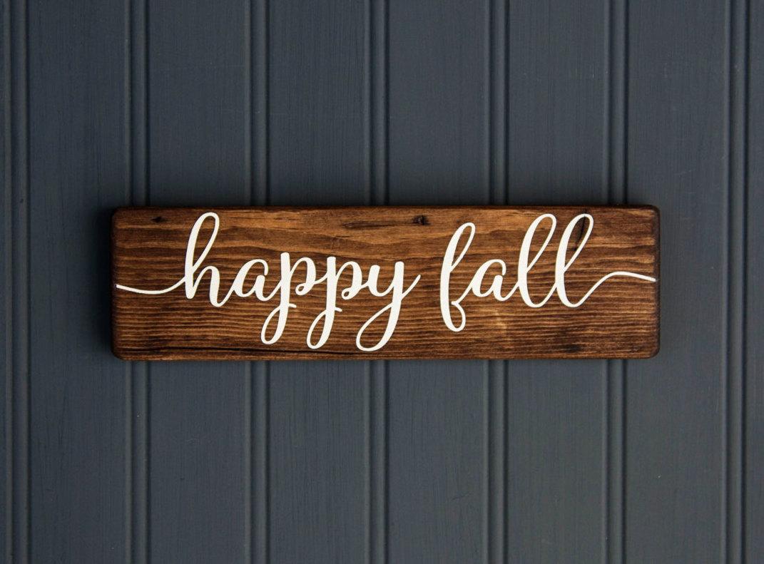 'Happy Fall' Rustic Wood Sign