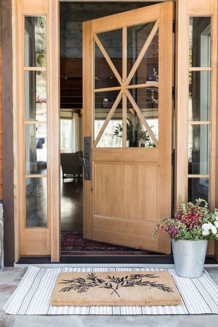 Light Wood And Glass Combo Front Door
