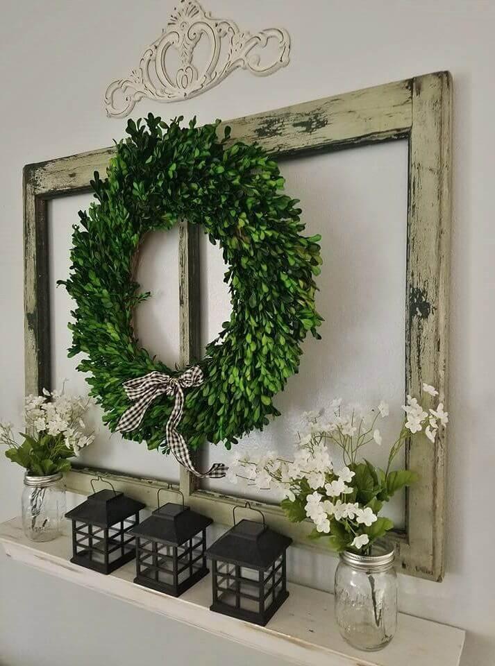 Boxwood Wreath and Recycled Window Display