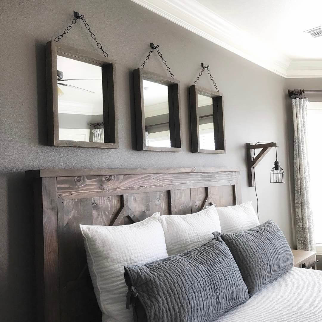 Three Rustic Framed Mirrors in the Bedroom