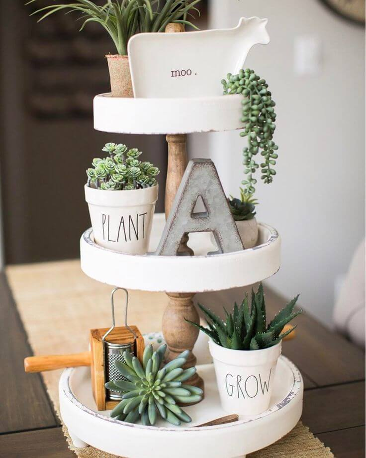 Three Level Tray with Cute Succulents