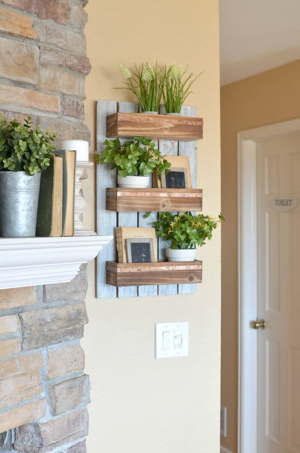 Wood Pallet Style Shelf with Plants