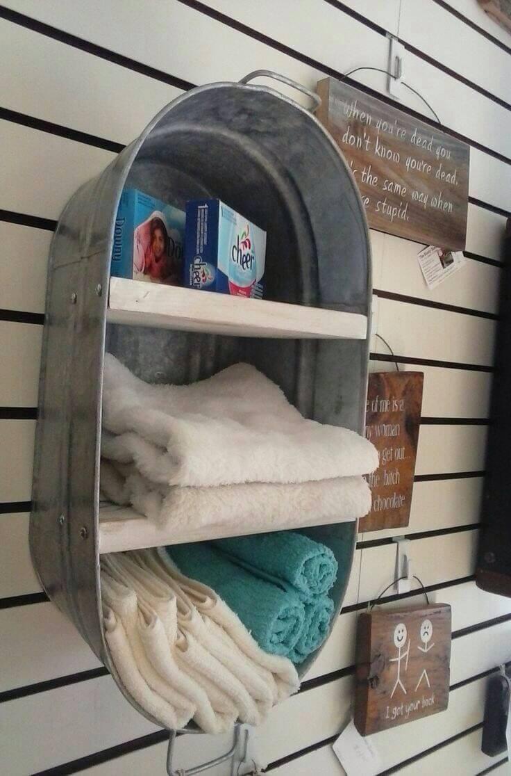 A Rustic Galvanized Tub Bath Shelf