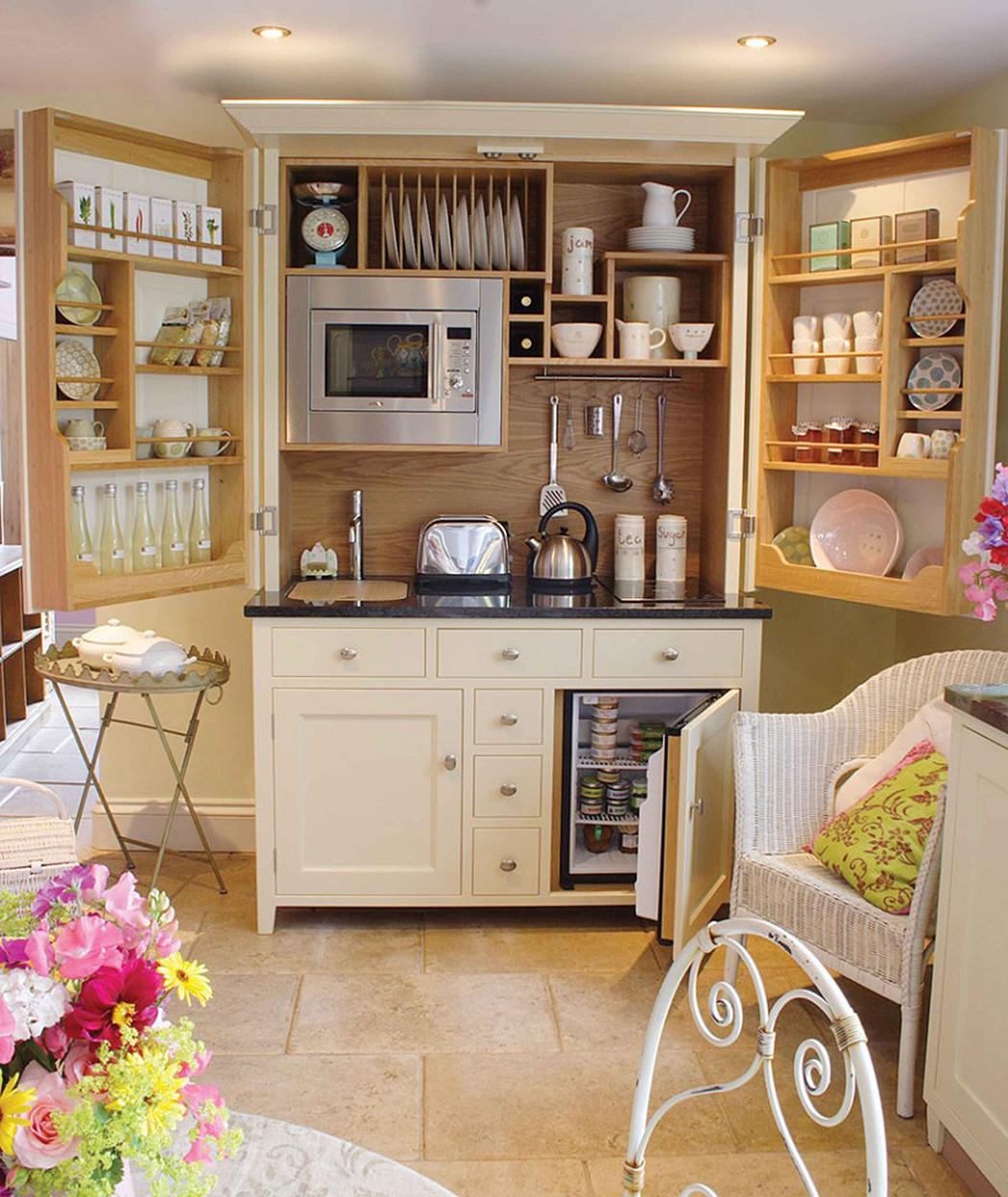 An Entire Kitchen Hidden In A Beautiful Furniture Piece