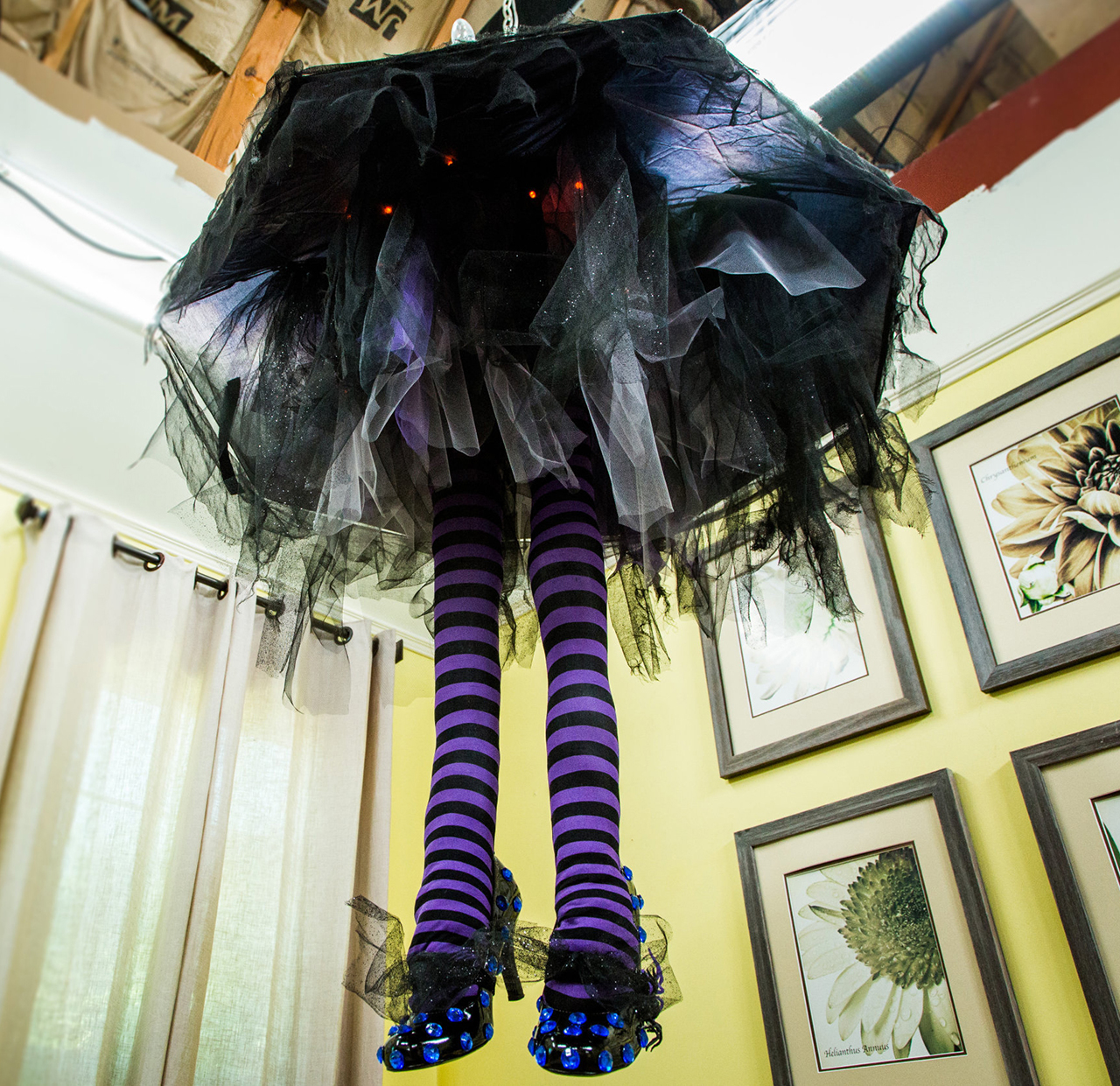 "Spooky Witch Leg ""Chandelier"" Shines"