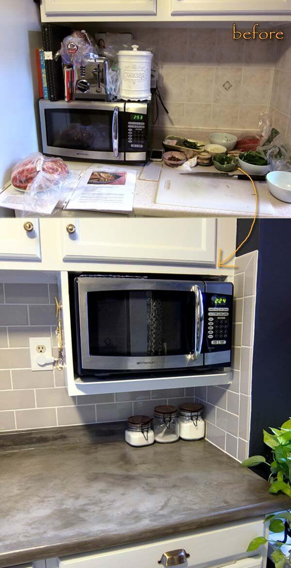Built In Under Cabinet Microwave Cubby