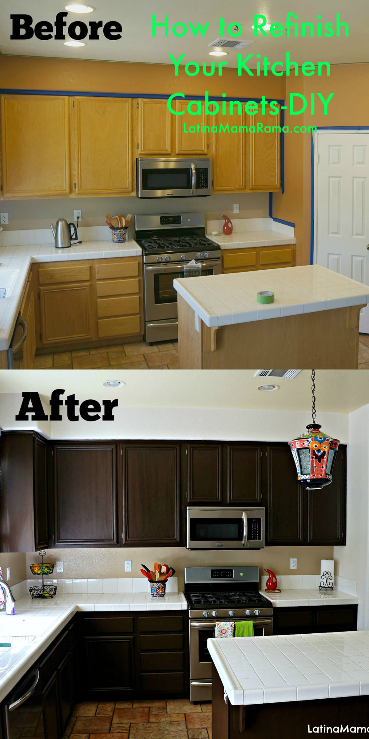 A Dark Finish on Wooden Cabinets