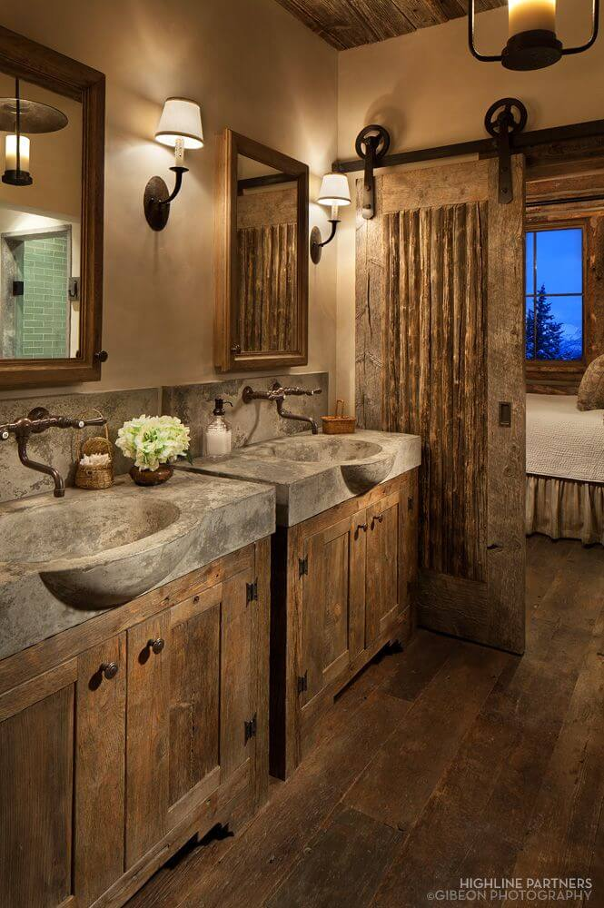 Rustic and Luxurious Cabin-Feel Bathroom