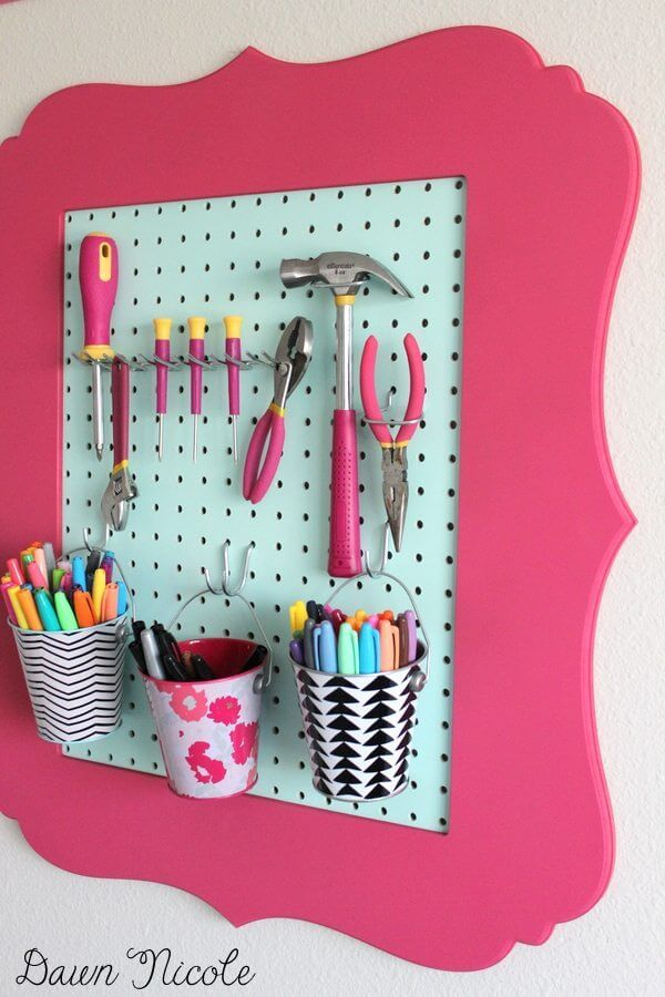 Pink Pegboard for Tools and More