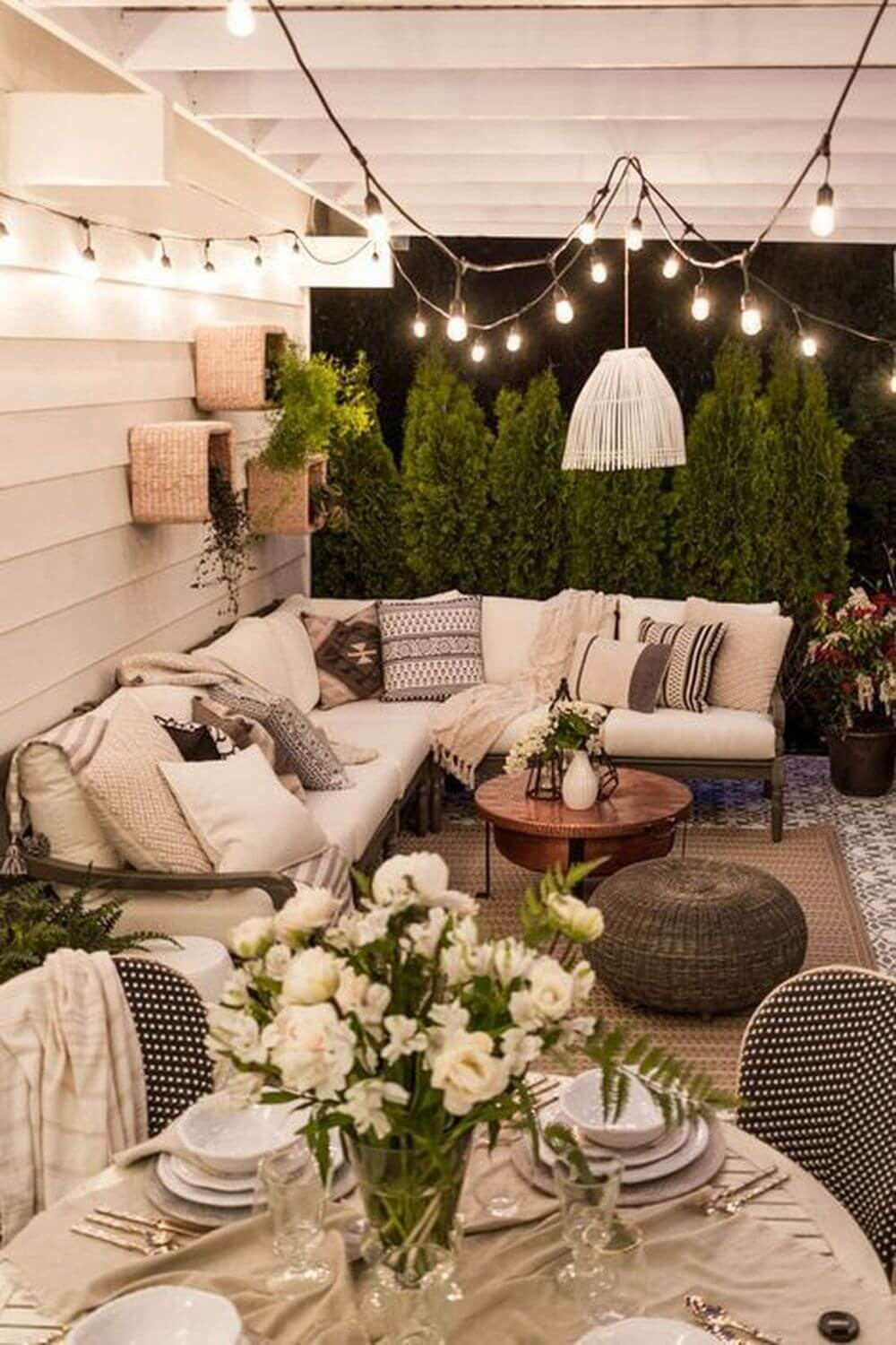Comfy Porch Seating with Hanging Lights
