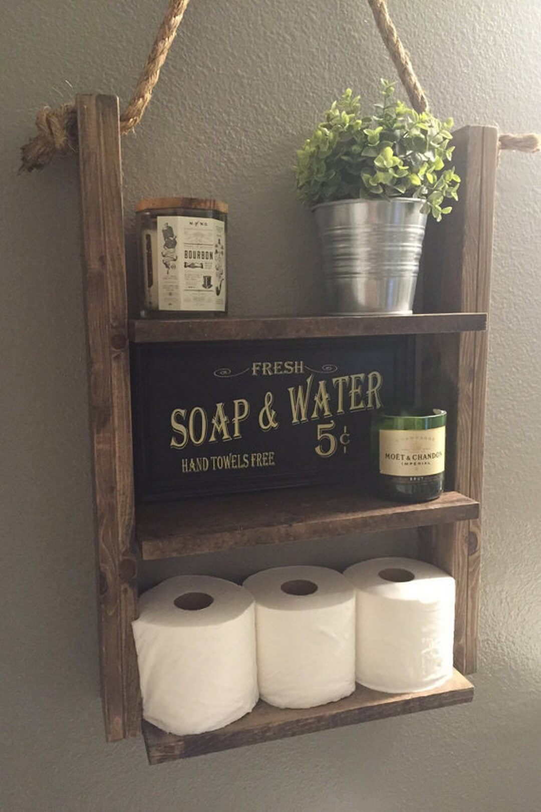 Rustic Wood Bathroom Organization Shelves