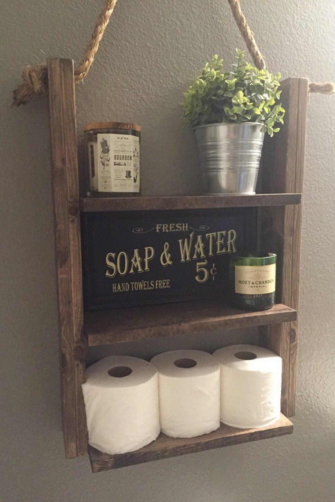 Rustic Wood Bathroom Organization Shelves