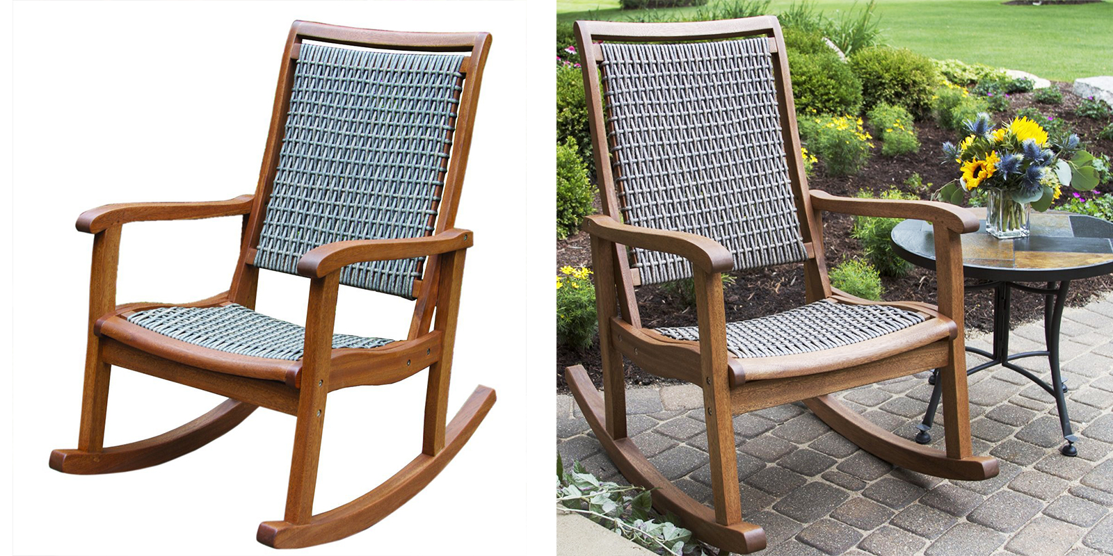 Patio Chair - Resin Wicker and Eucalyptus Rocking Chair