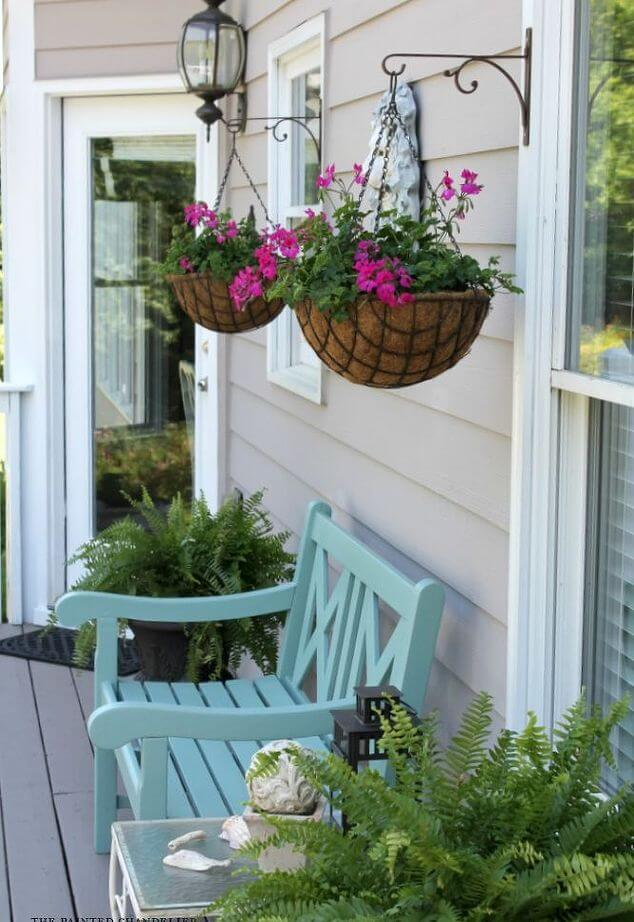 Hanging Coir Planters Over a Bench