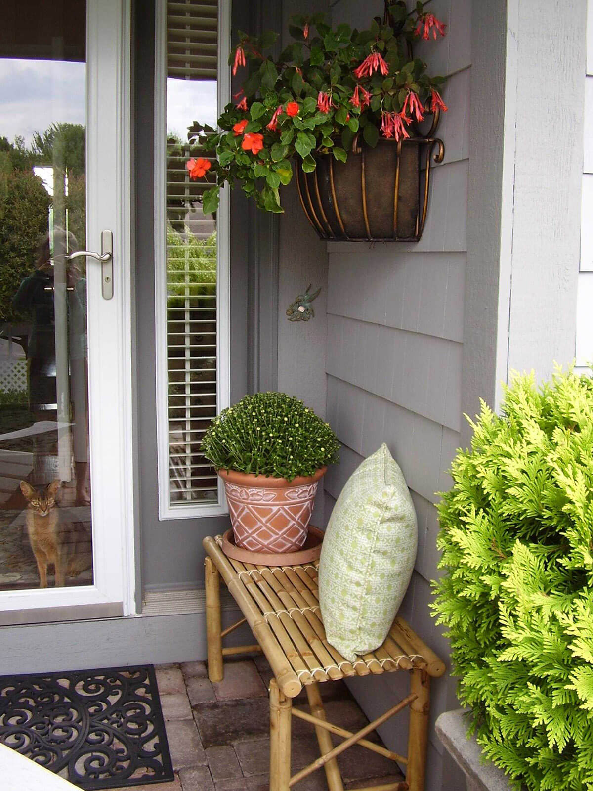 Coir Planter with Bright Orange Flowers