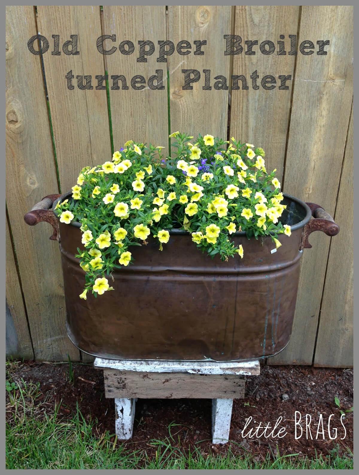 Vintage Boiler with Blooming Petunias