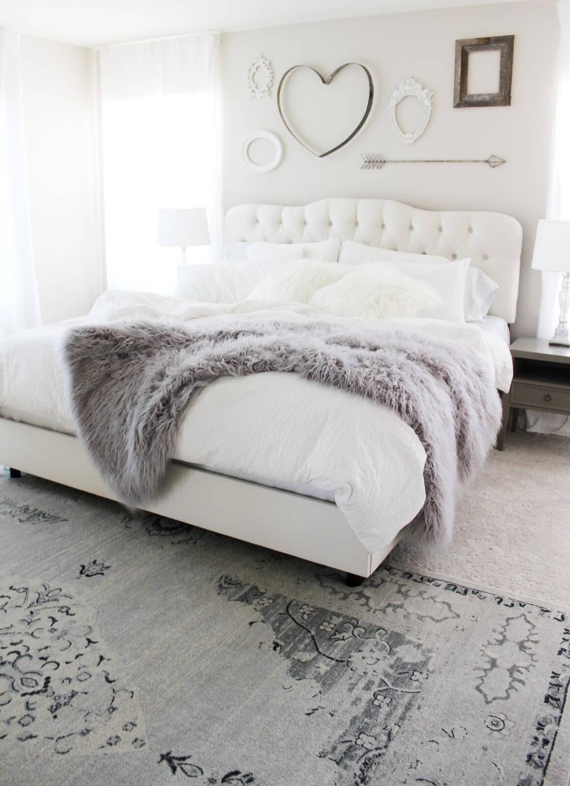 Norwegian Hideaway Ivory and Fur Bedroom