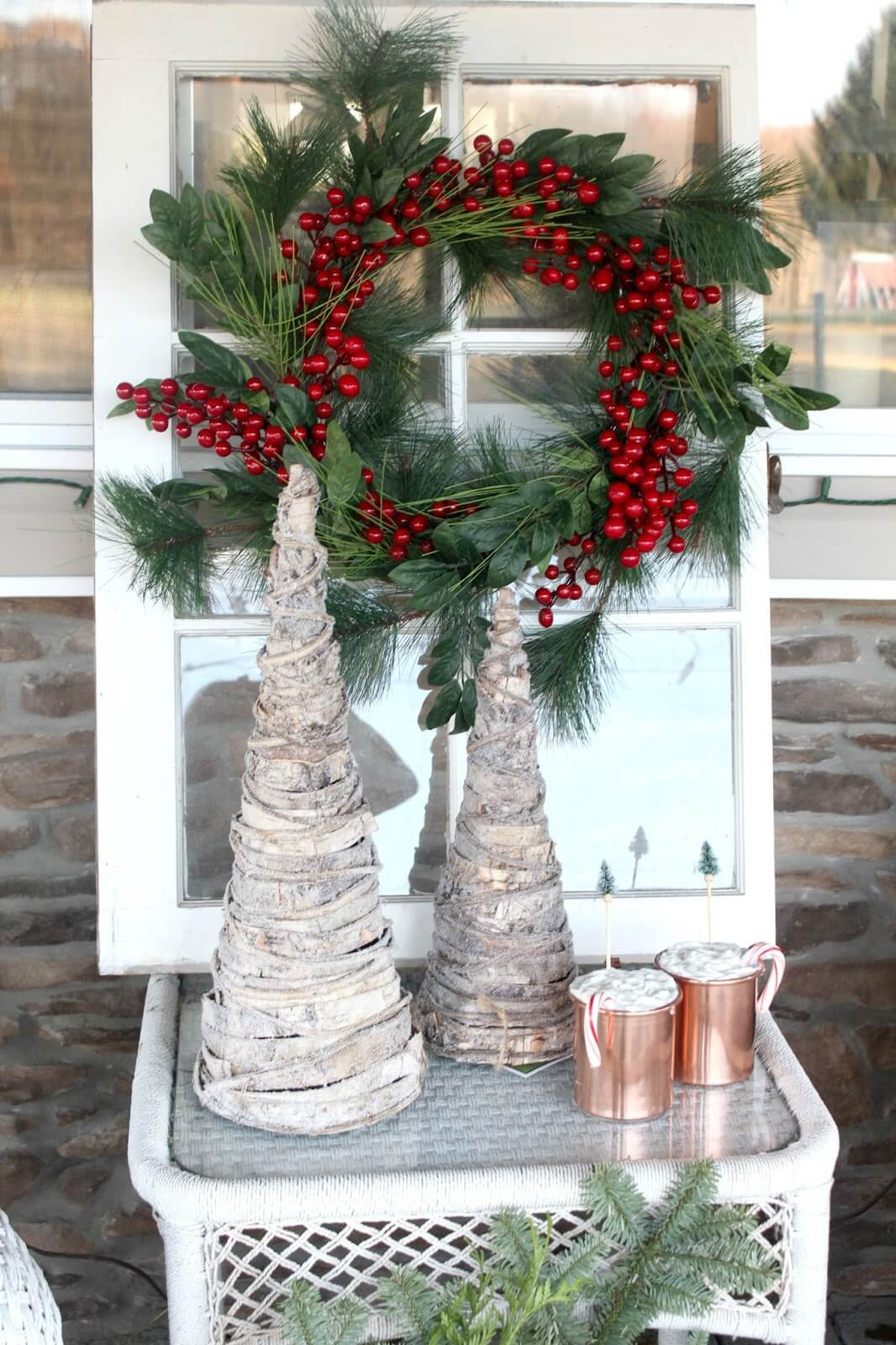 Antique Window With Holiday Wreath Porch Display