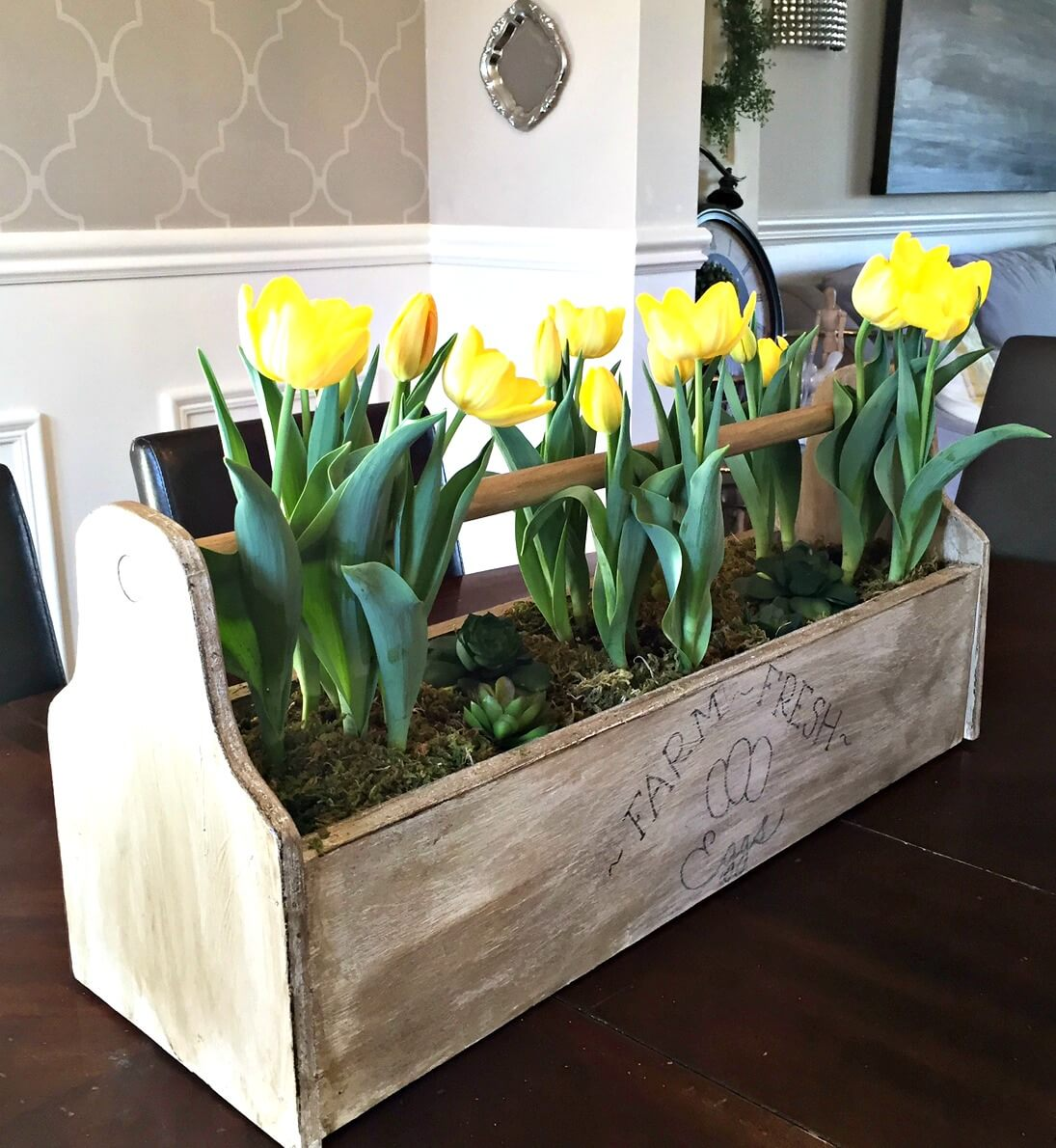 Rustic Egg Box with Yellow Tulips