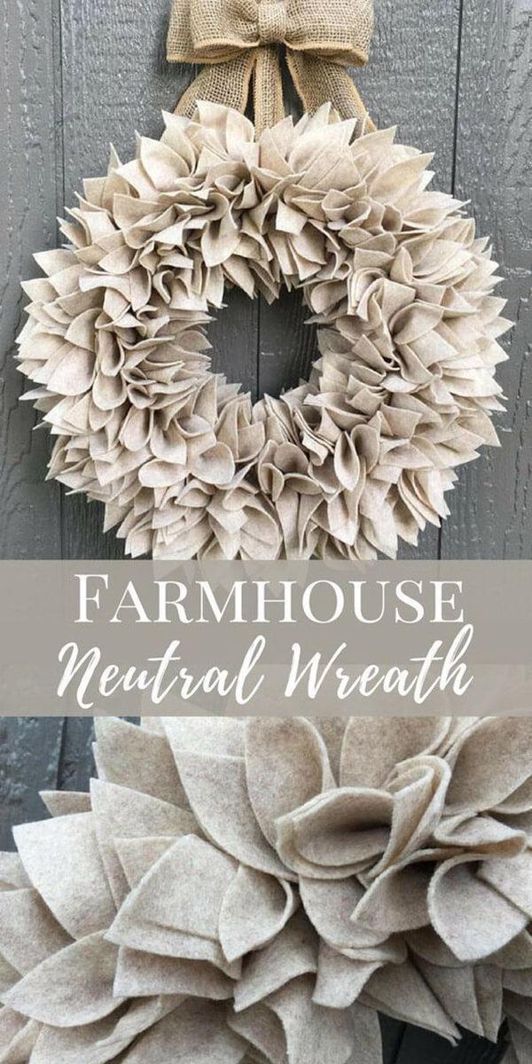 Soft Gray Wreath Made of Felt