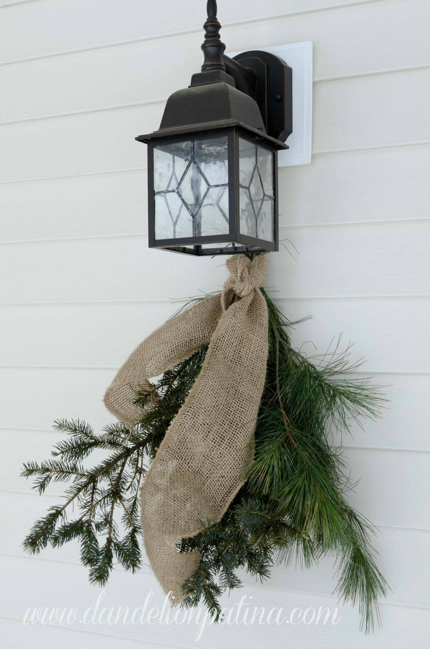 Burlap Pine Swags for Outdoor Lighting Fixture
