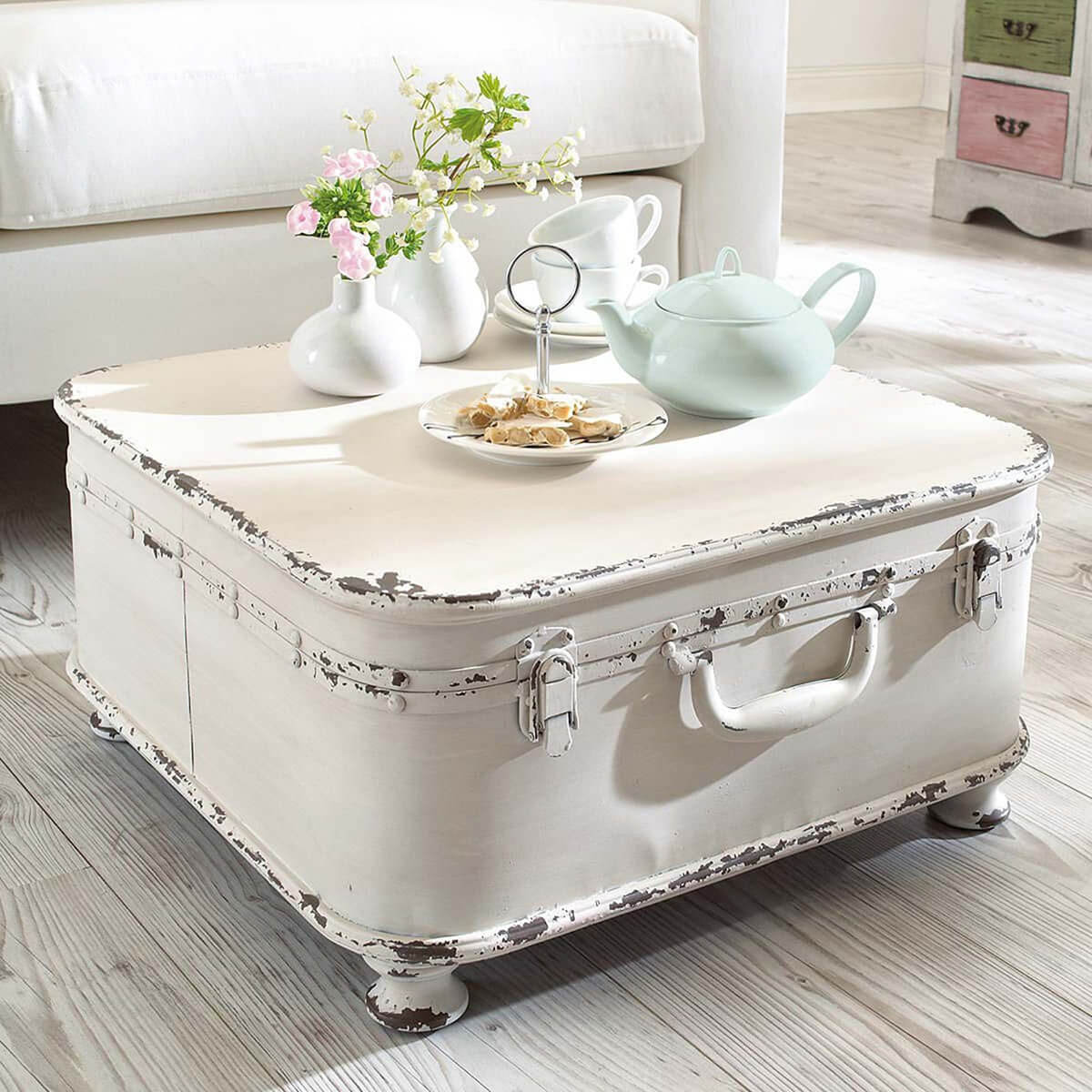 Large White Trunk with Tea Set