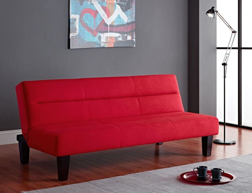 Sleeper Sofa - Futon Sofa Bed in Modern Red Great And Comfortable For Entertaining Guests or A Quick Nap