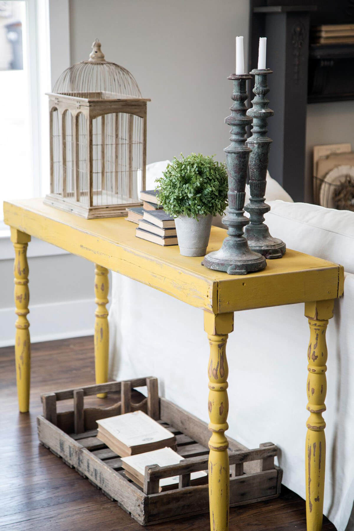 Rustic Lemon Stripped Yellow Sofa Table