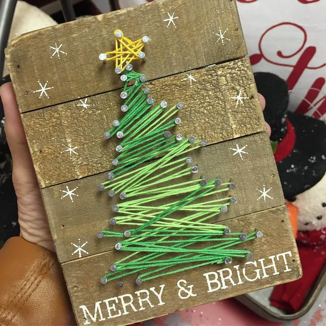 Merry and Bright Christmas Tree String Art