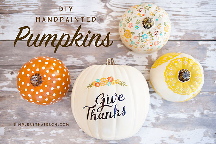 Whimsical Orange and White Painted Pumpkins