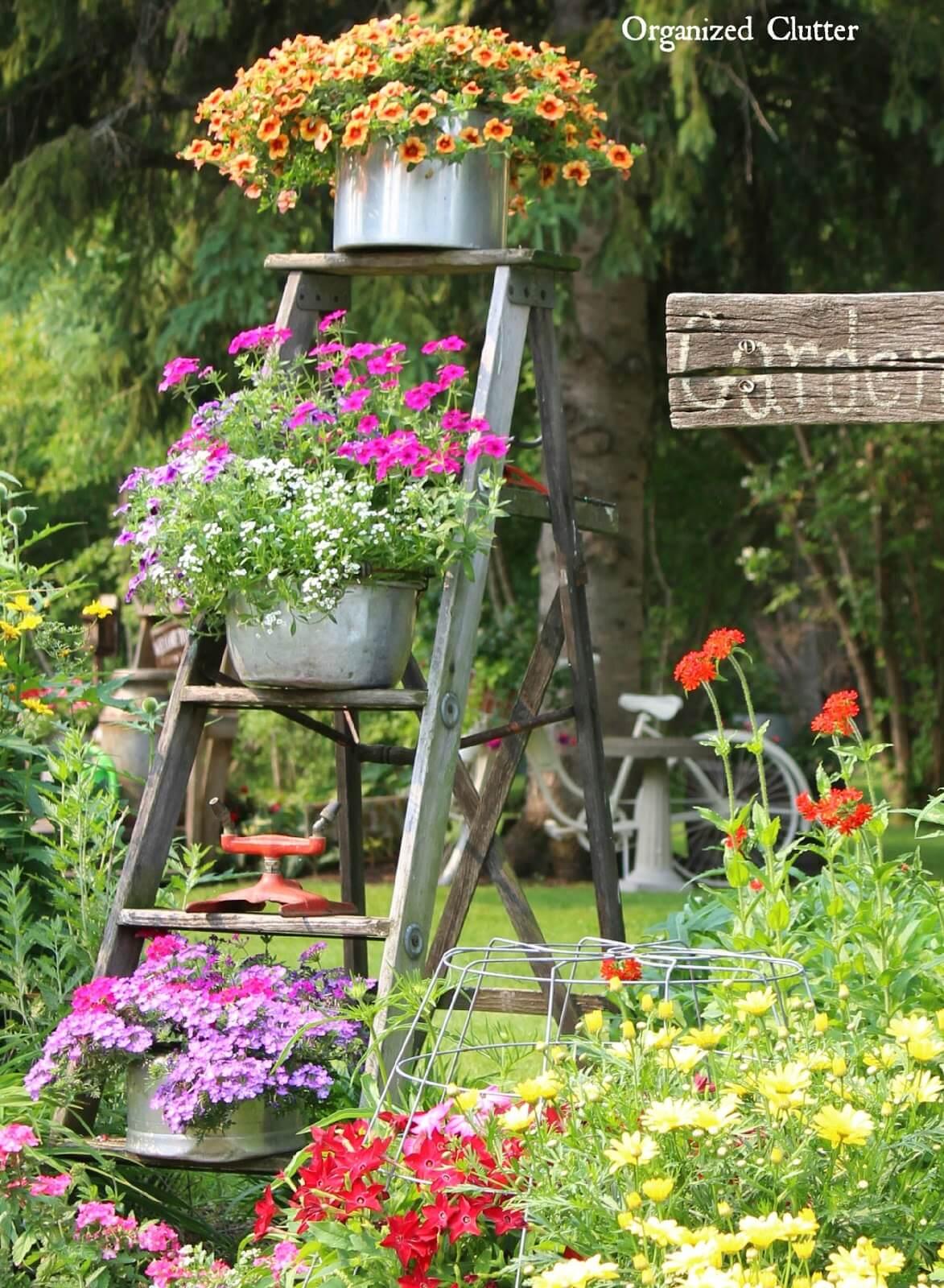 Vintage Ladder Flowerpot Garden Display