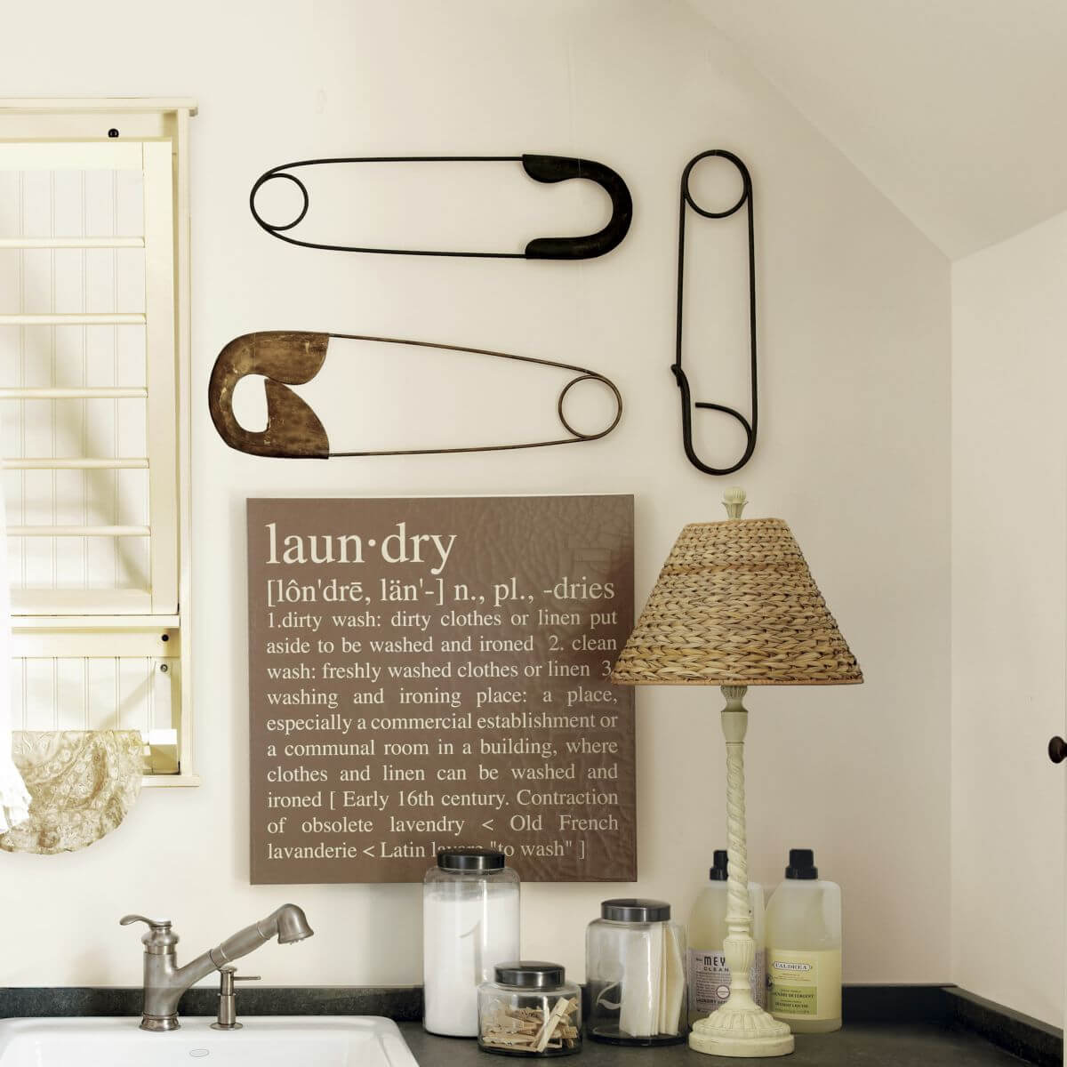 Laundry Dictionary Definition and Giant Pins Art