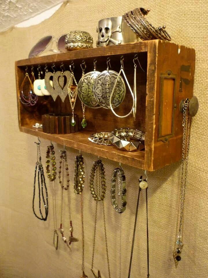 Jewelry Display from a Card Catalog Drawer