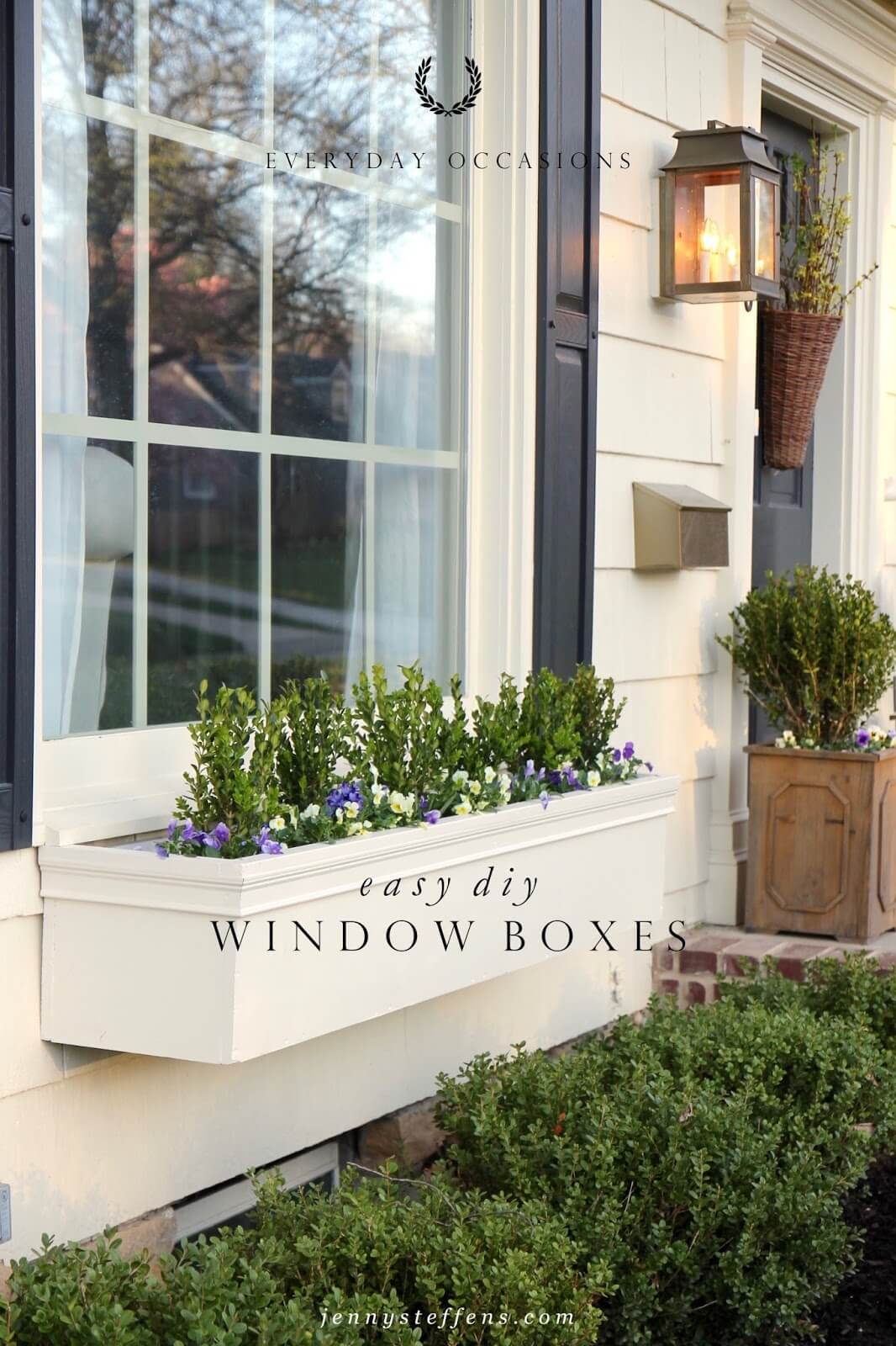 Neutral Window Box Painted to Match the House