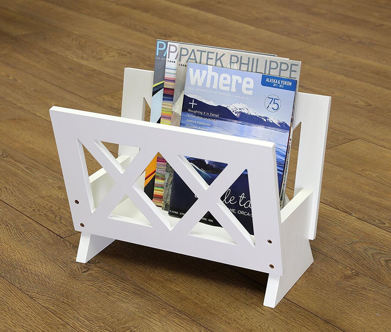 Contemporary White Wood Bathroom Magazine Rack