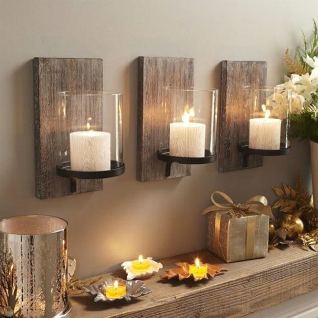 Rustic Barnwood Candle Sconces