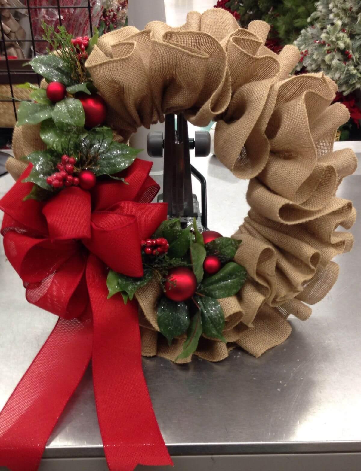 Ruffled Burlap and Red Ribbon Wreath