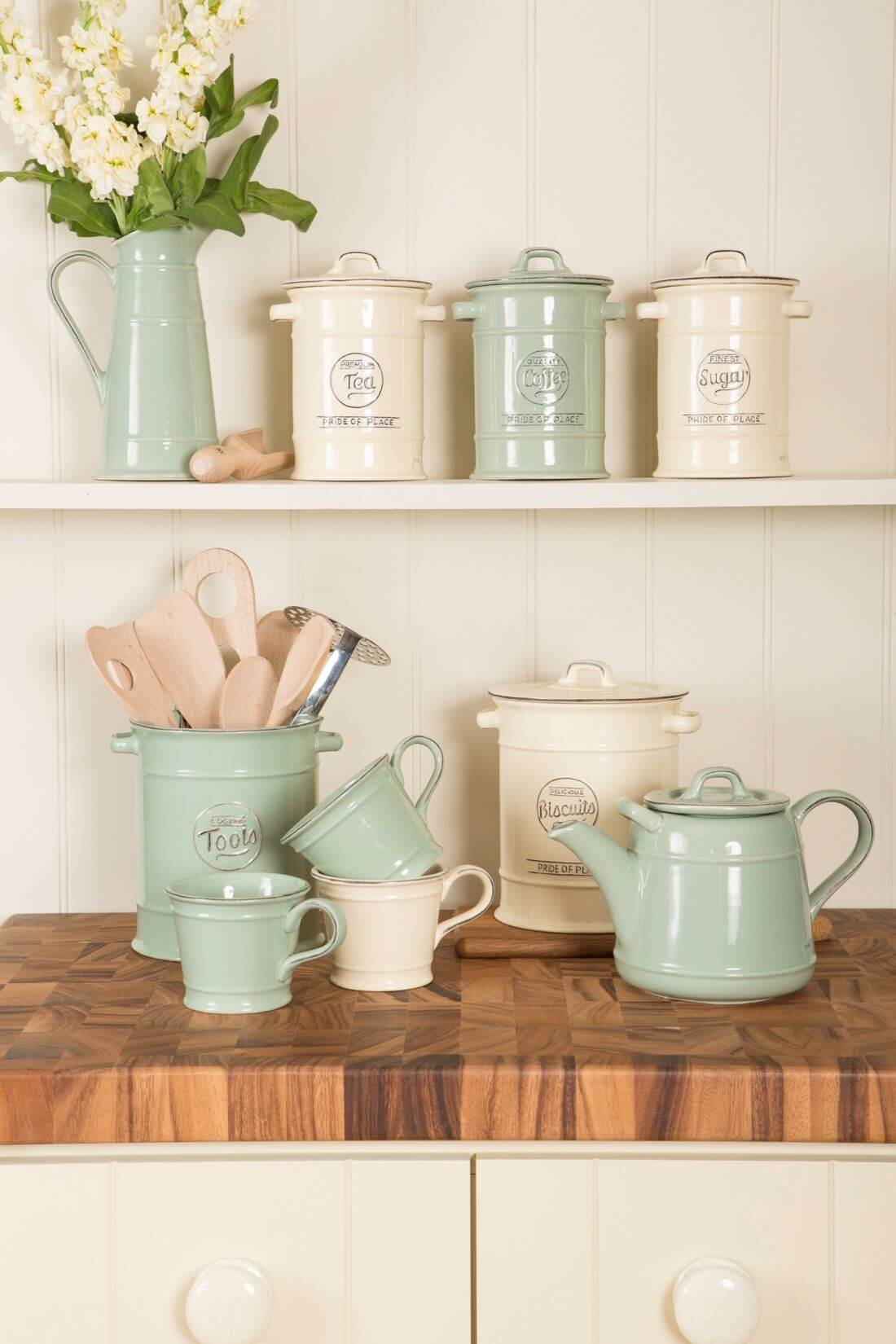 Rustic Pastel Canisters and Teapot