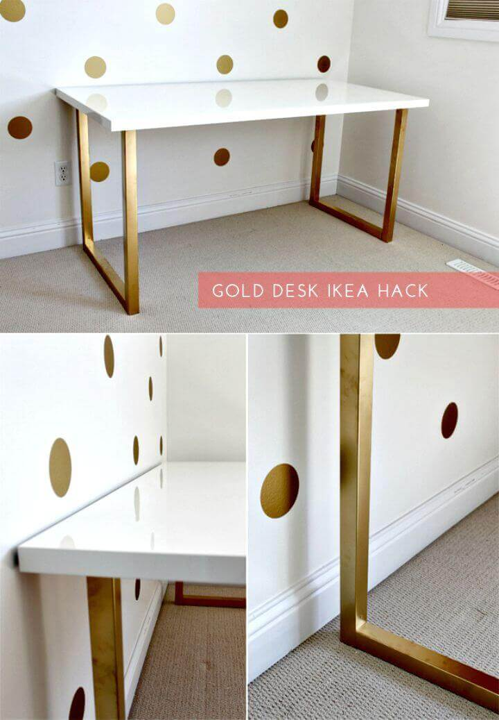Glossy White and Golden Desk with Simplicity