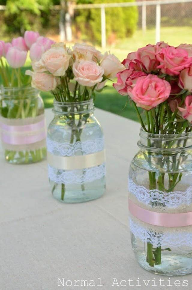 Wide Lace and Ribbon Bands