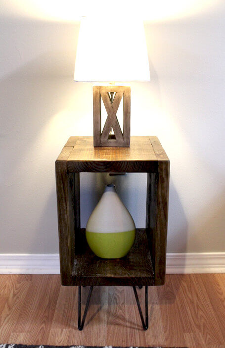 Reclaimed Wood Box Nightstand on Steel Legs